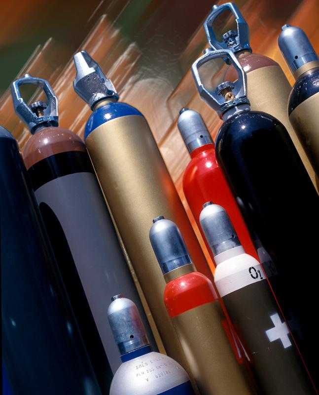 katalogová fotografi tlakových lahví